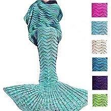 Meerjungfrau Decke Bettdecke Handgefertigte Strickdecke Soft Schlafsack Kuscheldecke für Damen und Mädchen Minzgrün 188 x 89cm