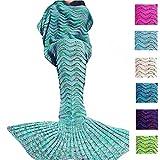 Aken Meerjungfrauen-Decke für Erwachsene / Teens / Kinder, für alle Jahreszeiten geeignet, Strickmaterial, ozeanblau, 71