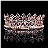 HerZii 2' Rhinestone White Imitation Pearls Clear Crystal Rose Gold Plated Women Bridal Crown for Wedding Hair Jewelry