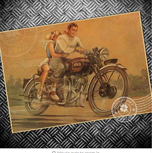 Antike Vogel-prints (addthigne Wandaufkleber Freies Schiff Route 66 Motorrad Papier Vintage Poster Retro Print Foto Altes Bild Bar Cafe Antikes Dekor 42X30 cm)