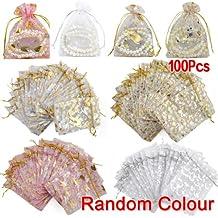TOOGOO(R)100 piezas mixtas bolsa del Organza del regalo de boda de bolas de caramelo bolsas de regalo bolsas