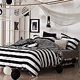 Algodón simple Conjunto de cuatro piezas en blanco y negro Mantenga el calor Fácil de limpiar Conjunto de 1 edredón, 1 vestido de cama, 2 fundas de almohada , E , 1.5m