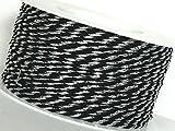 KORDEL 50m x 2mm schwarz - silber Drehkordel KORDELBAND Dekoband Trauerkordel Trauerband
