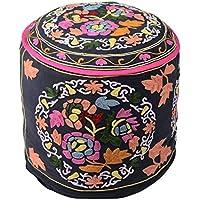 Decorativo nero rotonda Home Decor Pouffe cotone floreale ottomano copertura unica ricamato Ottomana Pouf da (Sedia Da Giardino Ottomano)