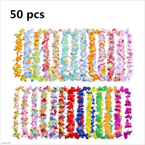 Keliour Haustürkranz 50 Stück Tropical Hawaiian gekräuselte Blume Halskette für Beach Birthday Party Dekorationen Atemberaubender Frühling Türkranz (Farbe : 50 pcs Random Color)
