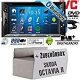 Skoda Octavia 2 1Z 2-Din Nexus Columbus Etc. - Autoradio Radio JVC KW-V235DBTE - DVD | Bluetooth | DAB+ | CD | MP3 | USB | Android | iPhone | 2-Din - Einbauzubehör - Einbauset