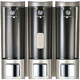 Galapara Dispensadores de jabón, Jabonera de loción líquido manuales Montado en la Pared Champú de Tres cámaras Caja Champú G