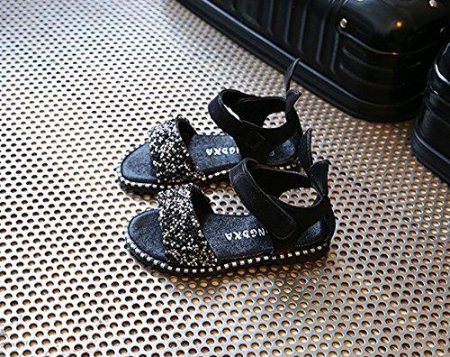 Générique Chaussure Bébé Fille Sandales été Style Rome Chaussre de Plage Chaussure princesse avec Lapin EU 21 à 36 Noir
