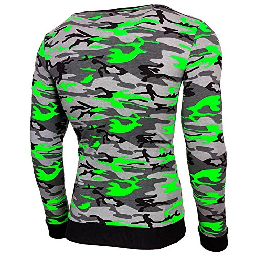 Baxboy Herren Longsleeve Langarmshirt Sweatshirt Camouflage Armee T-Shirt M-1060 Grün