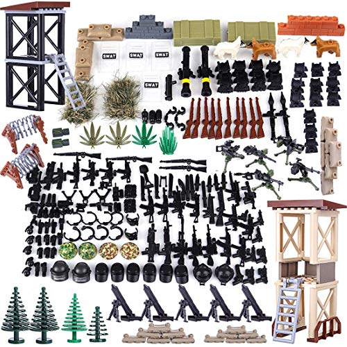 12che Millitärspielzeug Helm, Custom Figures Militärblock und Waffe Set für Soldaten Minifiguren - Lego Militär Set