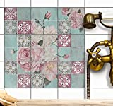 creatisto Fliesenaufkleber Dekor-Fliesen Fliesenfolie | Selbstklebende Aufkleber Folie Fliesen Sticker für Badfliesen Küchen Wandfliesen | 10x10 cm - Muster Durch die Blume - 18 Stück