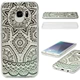 URCOVER® Coquille Tactile 360 degrés | Samsung Galaxy S7 Edge | Dream Catcher Mandala in Noir | Silicone Transparent Doux Protection Écran 3d Étui Housse Mince Tribal