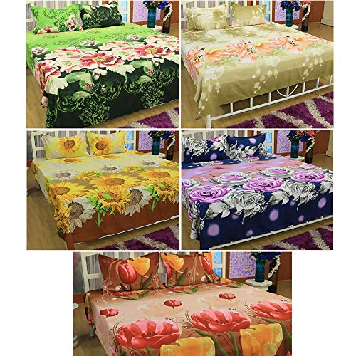Acetech Ventures Beaitiful 3D HD Flower Printed Double Bedsheet with Pillow Covers (Pack of 5)