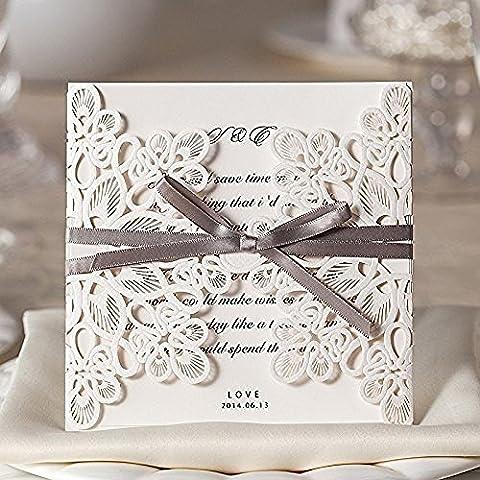 VStoy 20 Count Luxury Elegant Laser Cut Invitations Cards Kits White Wedding Birthday Baby Shower Bridal Shower with Ribbon and Envelopes