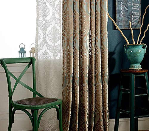 One Panel Blau Gold Jacquard Classic Samt Vorhang Drape, 1pcx(200x250cm)