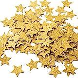 (Gold Glitter) - MOWO Glitter Five Stars Paper Confetti, Wedding Party Decor and Table Decor, 1.2'' in Diameter (glitter gold