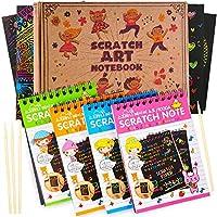 AGREATLIFE Cuadernillos Para Rascar Scratch Art | 4 Cuadernos Para Dibujar Y Colorear En Papel Rainbow Negro Con 4 Lápices | Libro Creativo De Manualidades Para Niños | Juegos De Dibujo | 14 x 11.5 Cm
