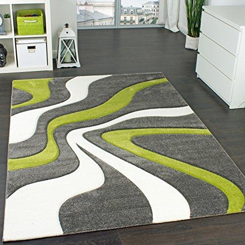 Paco Home Designer Teppich mit Konturen-Schnitt Modernes Wellen Muster in Grau Grün Creme, Grösse:80x150 cm