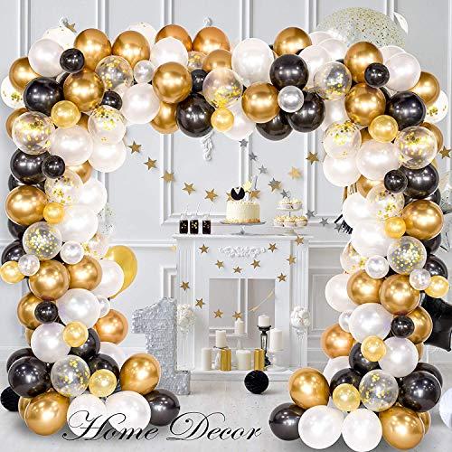FUNCUBE Ballon Girlande Kit weiß & schwarz & Gold Latex Ballons Arch Garland Pack für Bridal Shower Geburtstag Party Jubiläum Graduierung Herzstück Hintergrund Dekorationen