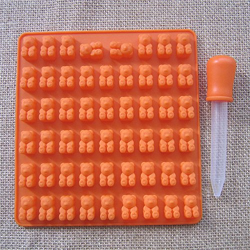 Pinkdose® Orange: 53 Cavity Silicone Gummy Bear Candy Mold Chocolate Mould Gummie Maker with A Dropper Kids Birthday Gift