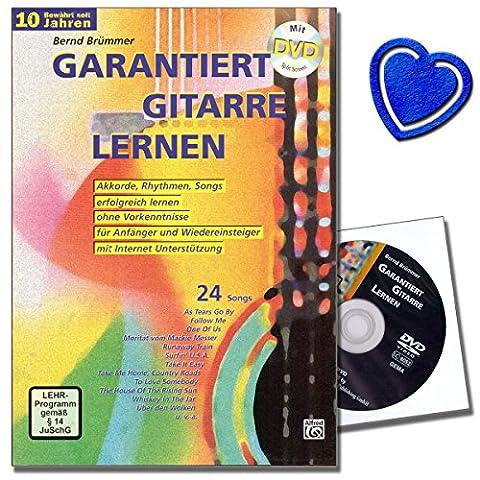 Garantiert Gitarre lernen - Gitarrenschule mit DVD von Bernd Brümmer - nach kurzer Zeit Songs mit der Gitarre begleiten können - mit herzförmiger Notenklammer