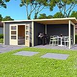 HORI Gartenhaus I Gerätehaus Skagen aus Holz mit Anbau I nordische Fichte terragrau I 575 x 275 cm - 28 mm Bohlenstärke