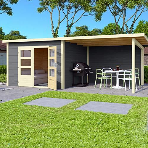 HORI® Gartenhaus I Gerätehaus Skagen aus Holz mit Anbau I nordische Fichte terragrau I 575 x 275 cm - 28 mm Bohlenstärke
