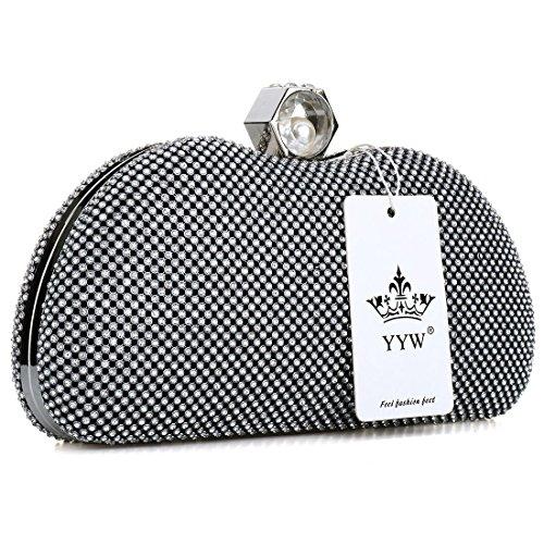 YYW Sparkly Evening Bag, Poschette giorno donna Black