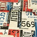 Dekostoff Number Plates blau rot schwarz Canvas Stoffe -