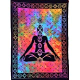 Garvanshi Fabrics 7 Chakra Buddha Yoga Meditation Studio Tie Dye Hippie Psychedelic Small Cotton Tapestry Poster (40 x 30 inches, Multicolour)