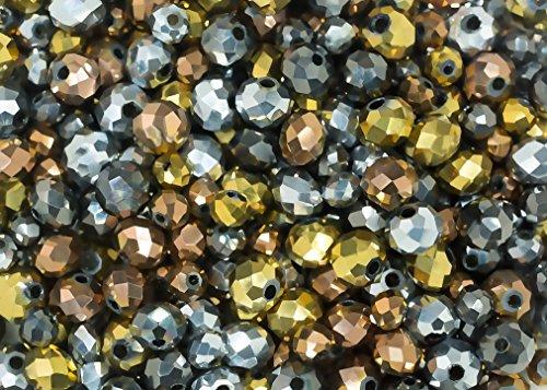 Pearlfection Metallic Sparkle-Mix: 400 glitzernde Rondelle Glasperlen im Kristall-Look in Gold, Bronze, Silber und Zinn hervorragend für Schmuckherstellung, Kunst und Handwerk (Ausführung Zinn Leichte)