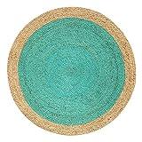 Green Decore Handgefertigte geflochtene runde Naturfaser Jute Teppich, Natur (120 cm Durchmesser, Oculus Turquoise)