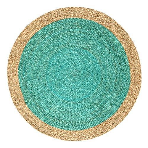 Green Decore Tapis rond tressé fait à la main en fibres naturelles de jute, Oculus Turquoise, 120 cm Diameter