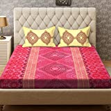 Bombay Dyeing Polycotton Double Bedsheet with 2 Pillow Covers - Pink