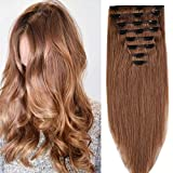 Clip in Extensions Set 100% Remy Echthaar 8 Teilig Haarverlängerung dick Dopplet Tressen Clip-In Hair Extension (50cm-150g,#30 Licht Auburn)