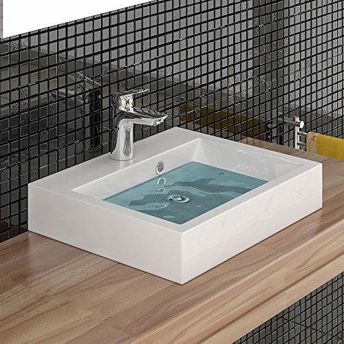 Eckiges Mineralguss-Waschbecken mit Überlauf / 50 cm Breite
