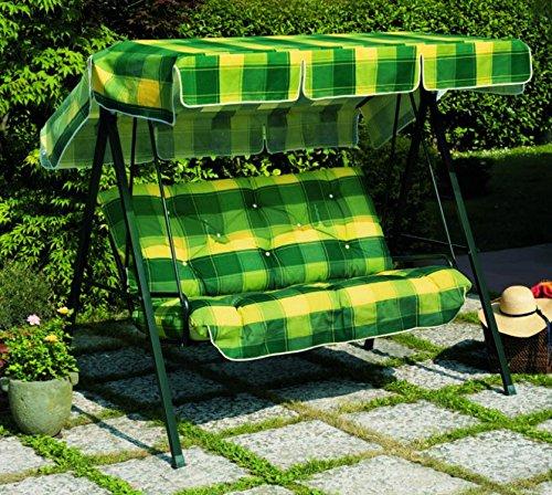 Ideapiu Balancelle de Jardin, Bascule avec imbottituracon rivestimentofantasia écossais Vert Jaune, balancelle 3 Places, Bascule