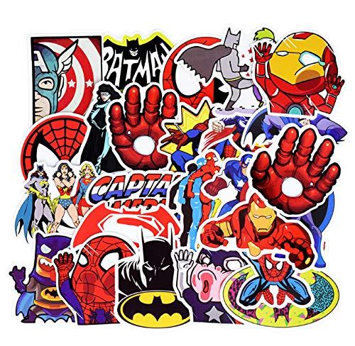 DZCYAN 50 PZ Adesivi Misti Supereroi Divertenti Anime Kids Toy Sticker per Il Bagaglio del Computer Portatile Laptop Skateboard Moto Chitarra Chitarra Frigorifero