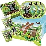 37-teiliges Party-Set Der kleine Maulwurf - Teller Becher Servietten Tischdecke für 8 Kinder