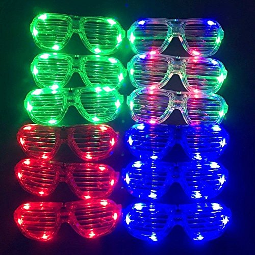 12 x Plastic Glow LED Light Up Shades Glasses for 80s Party