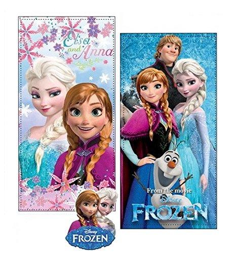 Frozen set due teli mare in microfibra ad alta assorbenza 300 gr/mq stampa fotografica, 100 x 70 cm, originali con etichetta. (set 6)