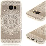 Coque Samsung S7 Edge , Galaxy S7 Edge Etui TPU , CaseLover Mandala Blanc Motif Mode Etui Coque TPU Slim pour Samsung Galaxy S7 Edge SM - G935F (5.5 pouces) Mode Flexible Souple Soft Case Couverture Housse Protection Anti rayures Mince Transparent Silicone Cover - Fleur White