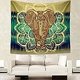 Elefante Arazzo, HailiCare Mandala Indiano Telo Etnico da Parete Psychedelic Tappezzeria Bohemian per Decorare Pareti Tavoli Tovaglia da Picnic e Telo da Mare 150*130cm Giallo