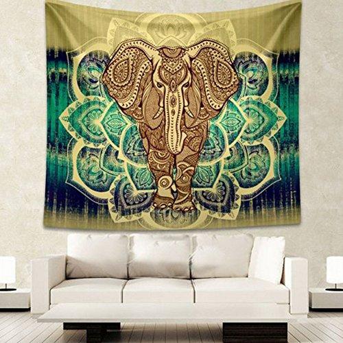 HailiCare Psicodélico Elefante Tapicería Floral Tapiz Hippie Mandala