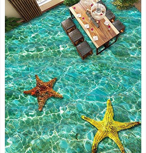 3D Tapeten Boden Aufkleber Pvc-MaterialBodenfliese Des Fliesenbodens Der Welligkeit Starfish Badezimmerwohnzimmers 3D,250X180Cm Ayzr