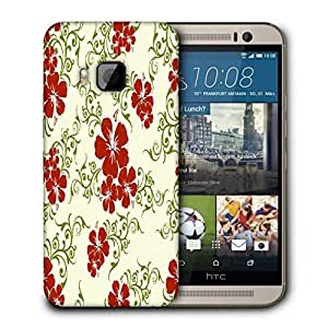 Snoogg Red Flower Cream Pattern Printed Protective Phone Back Case Cover For HTC One M9