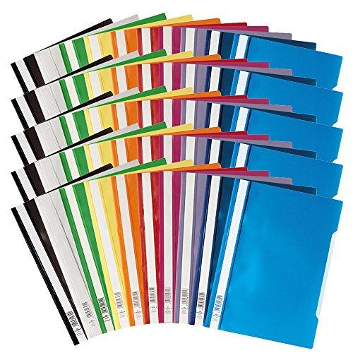 Durable 50 Sichthefter A4 Plastik Schnellhefter farbig sortiert 5 Packungen a 10 Stück