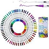 WCOCOW Pinselstift Set mit zwei Spitzen– 60 Farben – Wasserfarben Effekt, Aquarell Dual Brushpens Marker Pen with Fineliner Tip Ideal für Kalligraphie, zum Präzisionszeichnen, Schreiben( 60 Farben)