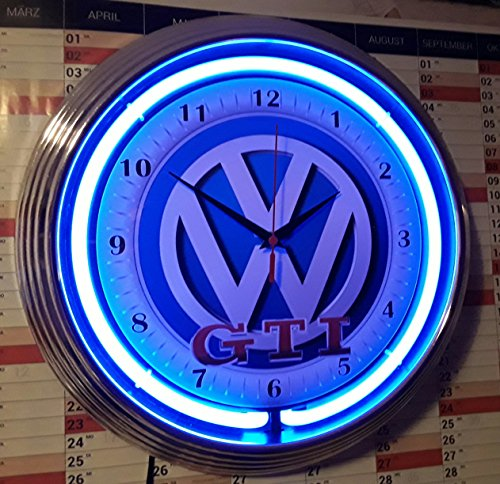 NEON CLOCK NEONUHR VW VOLKSWAGEN GTI RETRO REKLAME WANDUHR BELEUCHTET MIT BLAUEN NEON RING!
