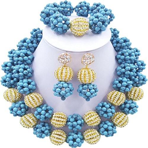 Laanc 2rows Rouge Collier de perles Turquoise et strass Doré du Nigeria africain Bijoux Femme Définit Light Blue and Rhinestone Gold